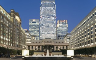 Canary Wharf viewed from Cabot Square, London, England, UK