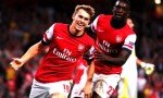 Aaron Ramsey celebrates a goal earlier in the season with team mate Yaya Sanogo. Credit thanks mbah_pascal via Flickr.com