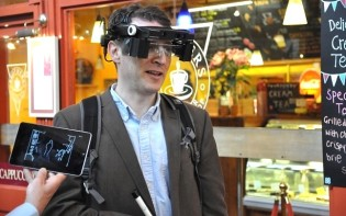 The smart glasses in use. Credit@RNIB