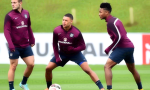 Sterling (right) claimed to be fatigued during England's training session prior to the match with Estonia. credit@England Football Team via Facebook