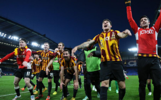 Bradford celebrated a famous victory over Chelsea. credit@officialbantams via Twitter