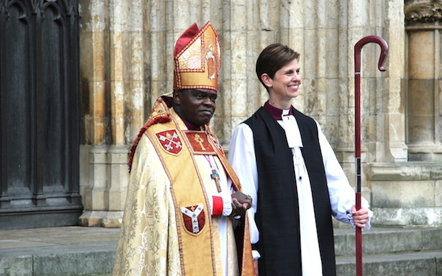 The Archbishop of York John Sentamu with the first female Bishop in the Church of England, Libby Lane. Credit@Office of the Archbishop of York.