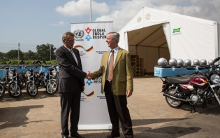 The handing over of 400 bikes to Ebola Response by the German ambassador is just one example of the international cooperation in response to Ebola. Credit@UNMEER.