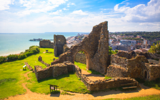 Hastings Castle in the town of Hastings, East Sussex Credit@wikimedia