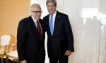 Lakhdar Brahimi (left), the Joint Special Representative of the United Nations and League of Arab States, meeting with the US Secretary of State John Kerry (right). Credit@UN Geneva.