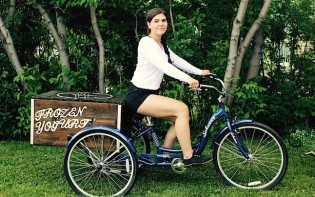 Young  entrepreneur Shanelle Guillemette is cycling around FroGurt Xpress. Credit@